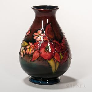 Moorcroft Pottery Orchid Design Flambe Vase