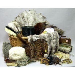 Splint Basket of Assorted Antique Accessories