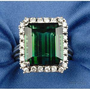 Platinum, Green Tourmaline, and Diamond Ring
