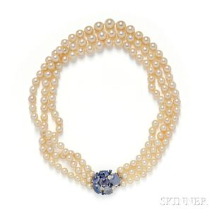 Sapphire, Diamond, and Cultured Pearl Necklace, Seaman Schepps