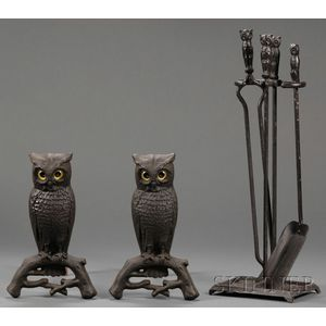Pair of Cast Iron Owl Andirons with Three Matching Fire Tools and Stand