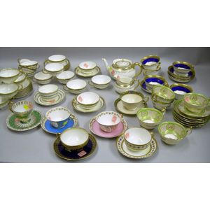 Collection of Approximately Seventy-four Pieces of English and French Decorated   Porcelain