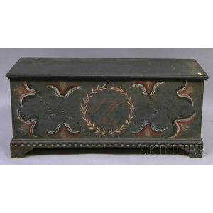 Blue-painted and Polychrome-decorated Dovetail-constructed Blanket Box