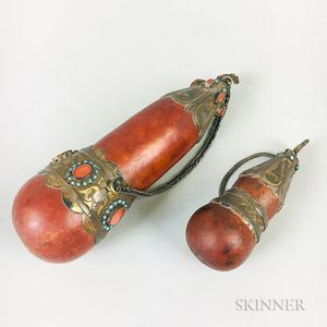Two Gourd Snuff Containers