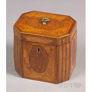 Inlaid Satinwood and Burl Veneered Tea Caddy