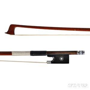 German Silver-mounted Violin Bow, E.M. Penzel, c. 1920