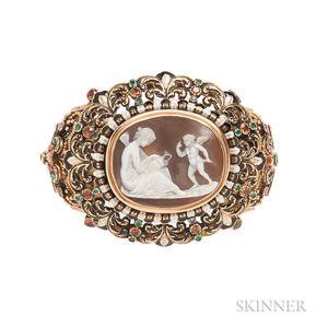 Renaissance Revival Gold, Hardstone Cameo, Enamel, and Gem-set Bracelet