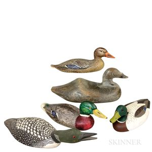 Five Carved and Painted Wood Duck Decoys