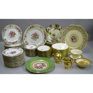 Partial Set of Thirty-two Crown Imperial Floral Transfer Decorated Plates and a Platter, a Tirschenreuther Plate, a Set of Twelve Minto