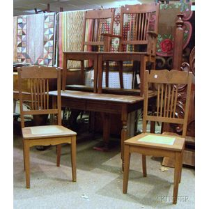 Late Victorian Square Oak Dining Table and a Set of Four Caned and Carved Oak Dining   Chairs