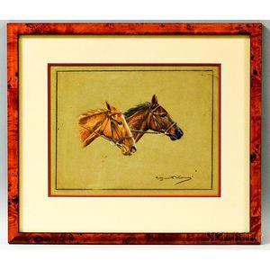 Marguerite Kirmse (British, 1885-1954)       Portrait of Horses.