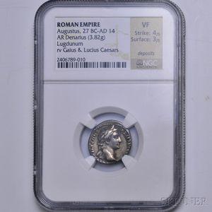 Roman Augustus Denarius, NGC VF