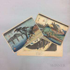 Three Utagawa Hiroshige (1797-1858) Woodblock Prints