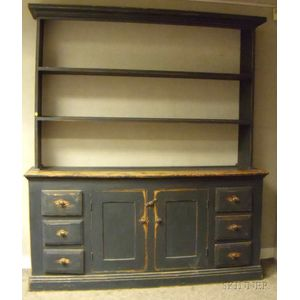 Country Blue-painted Wooden Two-part Pewter Cupboard