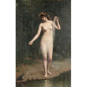 Carnig Eksergian (Turkish/American, 1855-1931)      Standing Nude with a Blue Bird
