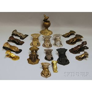 Collection of Metal Hand-shaped Letter/Paper Clips and a Cast Brass   Inkwell