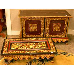 Chinese Gilt and Painted Carved Hardwood Cabinet and Low Table.