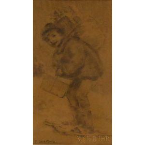 Francis Luis Mora (American, 1874-1940)      Boy Bearing a Sack Full of Gifts.