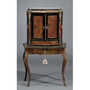 "Napoleon III Ebonized and ""Boulle"" Inlay Brass Mounted and Marble Topped Cabinet"
