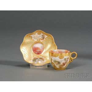 Jeweled Coalport Porcelain Demitasse Cup and Saucer