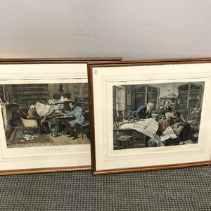 Two Framed Hand-colored Etchings