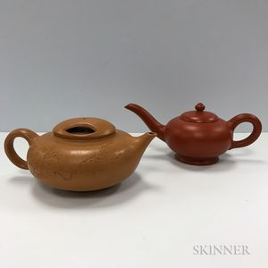 Two Yixing Teapots and Basins