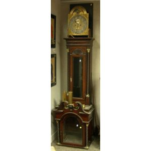 Georgian-style Brass Mounted Inlaid Mahogany Tall Case Clock