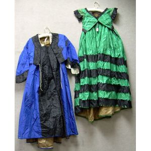 Two Early Victorian Two-piece Silk Dresses