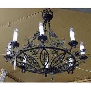 Victorian-style Wrought Iron Eight-Light Chandelier