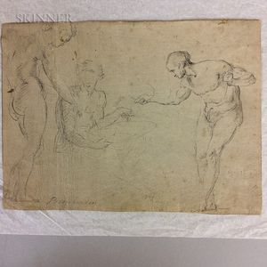 Continental School, 17th/18th Century Study of Male Figures Continental...