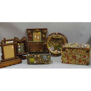 Seven Assorted Folk and Tramp Art Articles