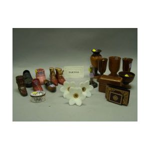 Collection of Fourteen Miniature Shoes, Six Turned Wooden Vessels, Three Tooled Leather Desk Items, a Trinket Box, a Set of Twelve Flor