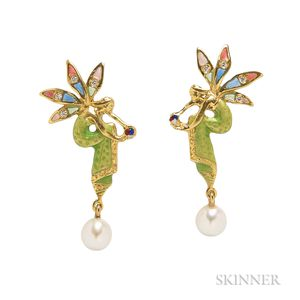 18kt Gold and Enamel Pixie Earrings