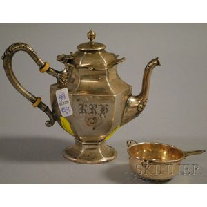 International Silver Co. Sterling Silver Teapot and Sterling Strainer