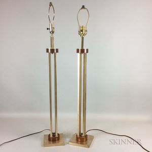 Pair of Tall Chrome and Teak Table Lamps