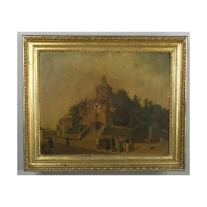 Continental Timepiece-Mounted Framed Painting on Tin