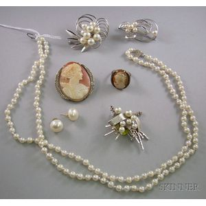 Boxed Bennet Brothers Double-strand Cultured Pearl Necklace, Three Pearl and Silver Brooches, a Pair of Pearl E...