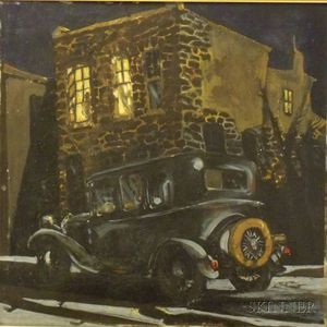 Framed Oil on Masonite Illustration of a Night Street Scene