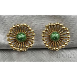 18kt Gold and Enamel Earclips