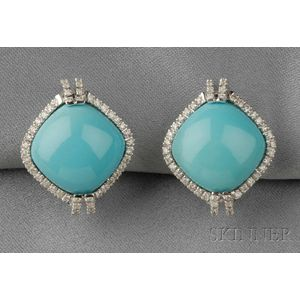 18kt White Gold and Turquoise Earclips