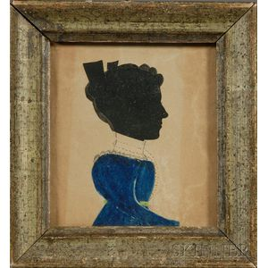 Silhouette Portrait of a Lady in a Blue Dress