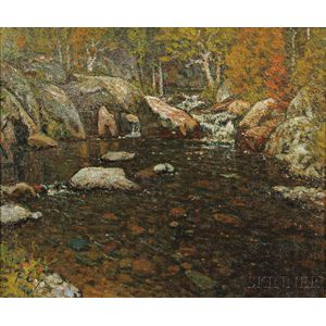 John Joseph Enneking (American, 1841-1916)      Woodland Pool
