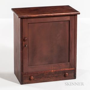 Small Mahogany Veneer and Walnut Cabinet