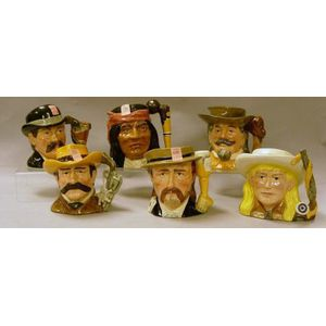Six Mid-Size Royal Doulton Wild West Series Character Jugs