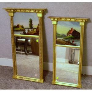 Two Federal Giltwood Tabernacle Mirrors with Scenic Reverse-painted Glass Tablets
