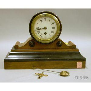French Elmwood Mantel Clock