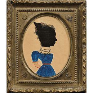 Hollowcut and Painted Silhouette of a Lady Wearing a Blue Dress