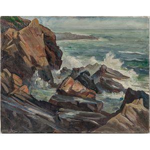 Edward Brodney (American, 1920-2002)      Rocky Coast with Breaking Waves