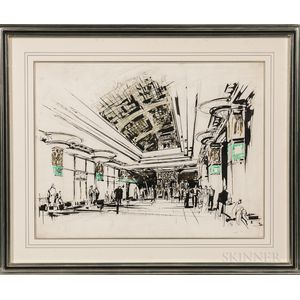 Architectural Watercolor Rendering of an Art Deco Hotel Lobby