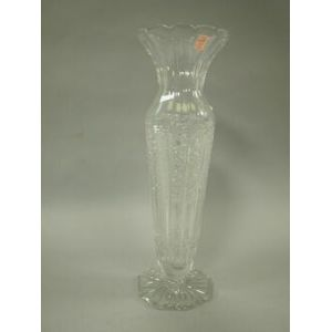 Tall Colorless Cut Glass Vase.